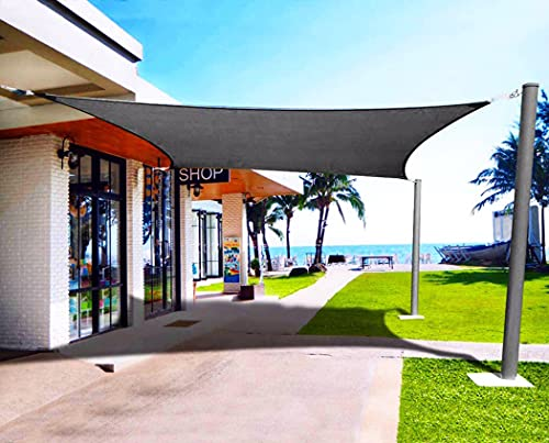 Emooqi Sonnensegel Rechteckig, Rechteckig Sonnensege2x3M Sonnenschutz Atmungsaktiv HDPE UV Schutz, Permeable Canopy für Terrasse, Balkon und Garten -Dunkelgrau