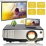 WiFi LCD Portátil Bluetooth Proyector 3300 lúmenes, Multimedia Inalámbrico HDMI Airplay Proyector de Cine en Casa Compatible con Altavoz, DVD, iPhone, PC, PS3, PS4, USB, VGA, AV para Juegos Film
