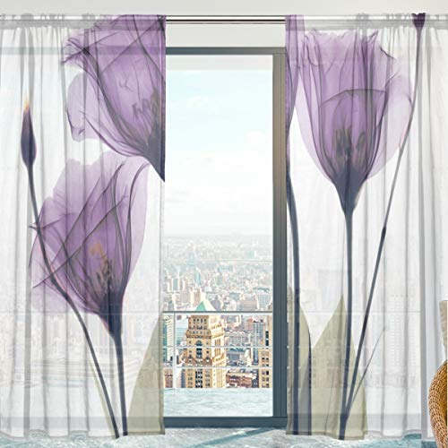 senya Sheer Voile Curtains for Bedroom Living Room, Lavender Purple Flowers Soft Sheer Curtains 84 Inches Long 2 Panels (White)
