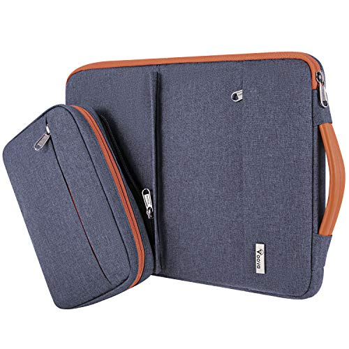 Voova 14-15.6 Inch Laptop Sleeve Case with Detachable Accessory Pocket, Waterproof Computer Carry Bag Cover Compatible with MacBook Pro 15/16, Acer Hp Samsung Chromebook, 15' Surface Book, Dark Grey