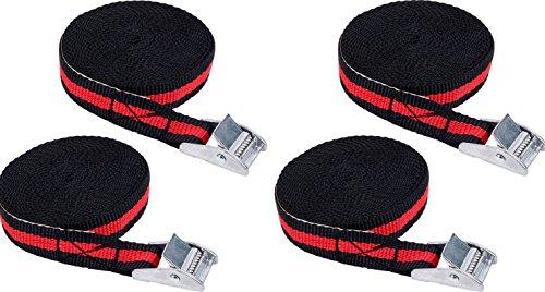 iapyx® 4 Stück Spanngurte Klemmschloss 2.5m Zurrgurte Schnellverschluss (Schwarz-Rot)