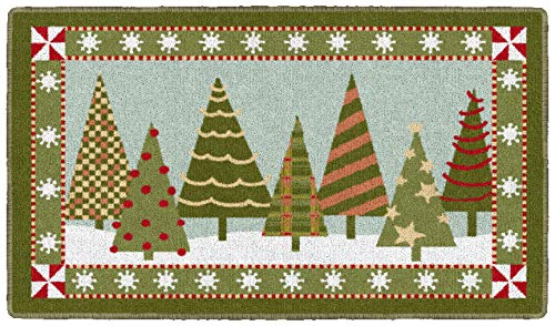 Brumlow MILLS Festive Trees Washable Christmas Indoor or Outdoor Holiday Rug for Living or Dining Room, Bedroom and Kitchen Area, 20'' x34, Green (EW20555-20X34BH)