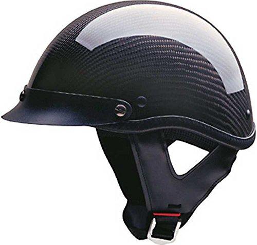 HCI Black Carbon Fiber Half Motorcycle Helmet. 100-134