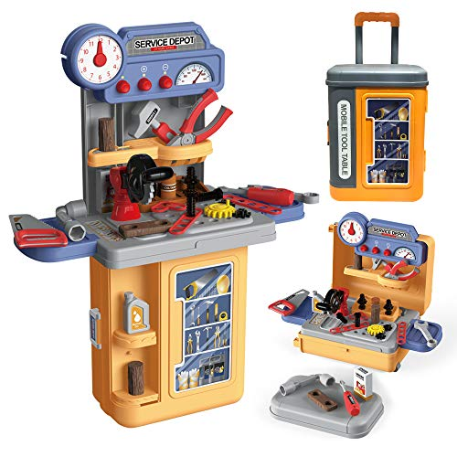 LADUO Juego de Juguetes para Banco & Herramientas de Juguete niños,3 en 1 Carpintero Ingeniero Juego de Roles Maleta Juguetes, 39piezas de Accesorios de simulación,para 3-6 pequeños, niños