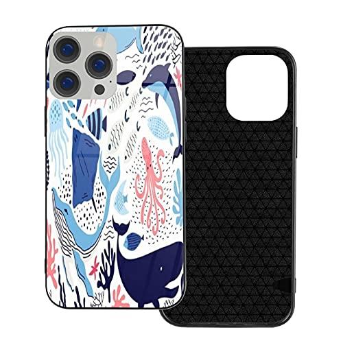 GOCHAN Funda Protectora de Lujo para teléfono móvil iPhone 12 TPU,Precioso Pulpo y delfín Ballena,Cáscara Protectora de Vidrio Templado para teléfono móvil de Lujo Anti-caída