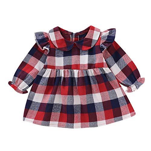 Pasgeboren Baby Meisje Plaid Jurk Een Stuk Lange Mouw Peter Pan Kraag Prinses Jurken Rokken Outfits