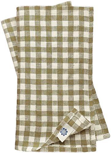 Linen & Cotton Juego de 4 Servilletas de Tela a Cuadros Estella - 100% Lino, Blanco Beige (32 x 32 cm) Suaves Lavable Rústico para Hogar Mesa de Centro de Madera Restaurante Picnic Verano Pascua País