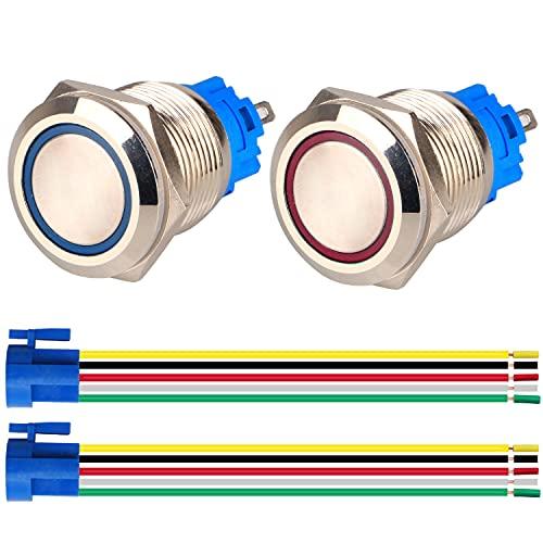 GUUZI 2pcs Interruptor de Botón Pulsador Momentáneo 1NO1NC Acero Inoxidable Impermeable 220V-230V/5A LED Iluminado con Enchufe de Cable Adecuado para Orificio de Montaje de 19mm(Azul+Rojo)