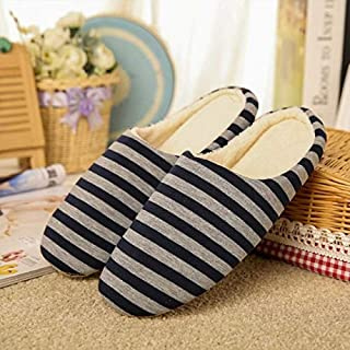 KUNYIXIAN Slipper Soft Slippers Home Indoor Cotton Striped Floor Shoes For Men Unisex