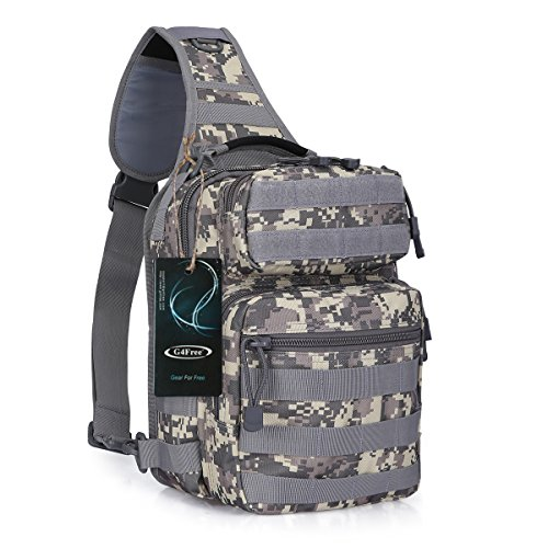G4Free Outdoor Lightweight Small Tactical Sling Backpack Military Daypack Assault Shoulder One Strap Sling Molle Chest Pack for Camping Hiking Trekking