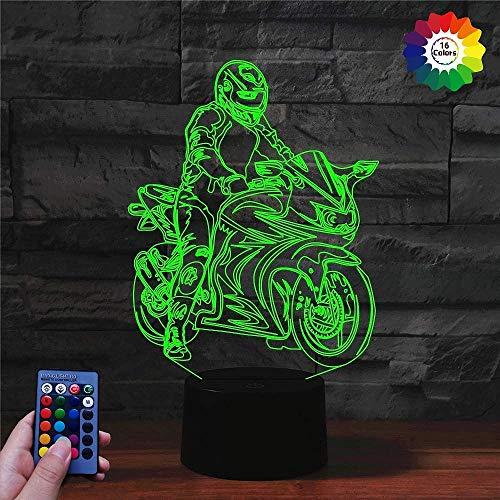 3D Motorrad Illusions LED Lampen Fernbedienung 7/16 Farbwechsel Acryl Berühren Tabelle Schreibtisch-Nacht licht mit USB-Kabel für Kinder Schlafzimmer Geburtstagsgeschenke Geschenk