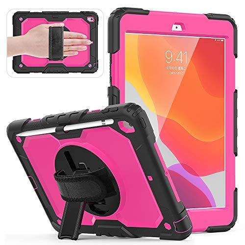QYiD Funda para iPad Mini5 2019/ iPad Mini4 con Protector de Pantalla Portalápiz, Carcasa Rugosa con Soporte Rotativo, Correa de Mano para iPad Mini 7.9 Pulgadas, Negro/Azul Claro
