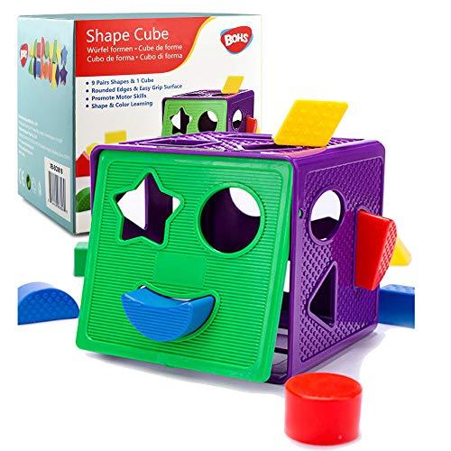 BOHS Juguetes para bebés de Cubo con clasificación geométrica, con 18 Formas y 1 Cubo