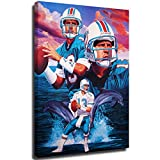 Elliot Dorothy Dan Marino Career Stats Wall Art Wall Decor on Canvas Stretched Artwork Living Room Bedroom 20'x28', Stretched and Ready to Hang