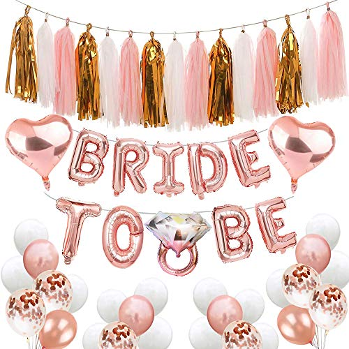 Bachelorette Party Decorations Bridal Shower balloons Kit Includes:Bride To Be Balloons Banner +Diamond Ring Balloons+Heart Foil Balloons+Paper Tassels Party Garland+Rose Gold Confetti Balloons