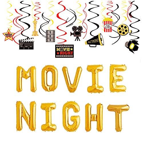 JeVenis 2 globos de noche de cine para fiestas de cumpleaños, ideas de película, noche, fiesta, decoración de fiestas de Hollywood, suministros de fiesta de noche