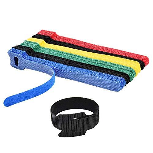 Ataduras Cables, Cintas de sujeción de Cables, 50 Piezas de 5 Colores de Color Mezclado Velcro Cable de Datos para Ayudar al Almacenamiento del Cable Alambre y Cable
