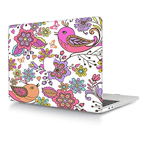 ACJYX Compatible with MacBook Pro 13 inch Case 2016-2020 Release A2338 M1 A2251 A2289 A2159 A1989 A1706 A1708, Matte Plastic Hard Protective Case Shell Cover - Flower & Bird