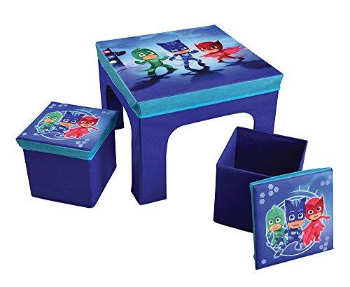 Fun House PYJAMSQUES Table avec 2 Tabourets de Rangement Pliable pour Enfant, MDF/Intissé, 52 x 52 x 15 cm