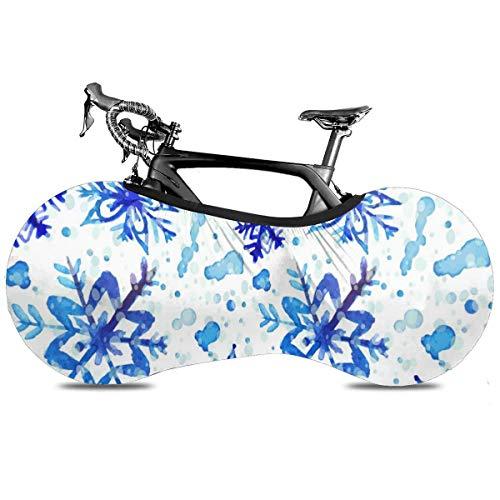 Cubierta de bicicleta portátil para interior antipolvo de alta elasticidad de la cubierta de la rueda de la bicicleta de protección de rasgadura para neumáticos de carretera MTB bolsa de almacenamiento, Copo de nieve acuarela, talla única