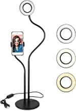Selfie Ring Light with Cell Phone Holder Stand for Live Stream/Makeup, UBeesize Mini LED Camera Lighting with Flexible Arms Compatible with iPhone/Android
