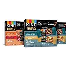 Contains 30 - .7oz KIND Mini Bars. 100 calories or less! Flavors: Dark Chocolate Nuts & Sea Salt, Caramel Almond & Sea Salt, Peanut Butter Dark Chocolate, Dark Chocolate Cherry Cashew We know how it goes - sometimes you just need chocolate. When crav...