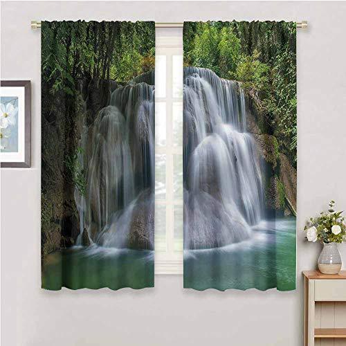 Waterfall Decorative Curtain, Curtains 45 inch Length Cascade Exotic Bushes Home Fashion Machine Washable W55 x L45 Inch