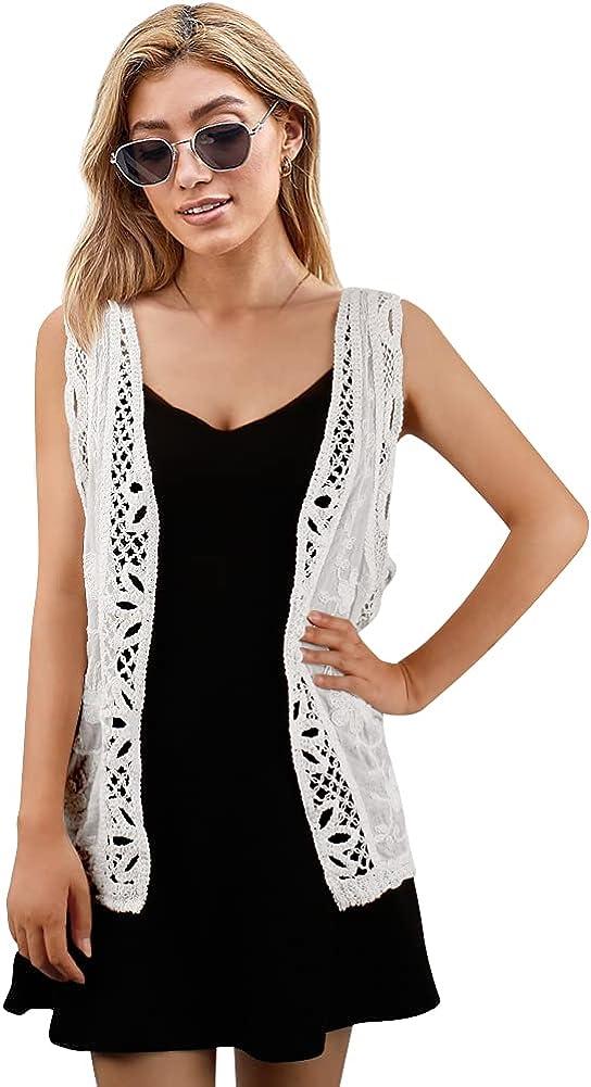 DRESSHAPE Sleeveless Open Front Cardigan Vest Lightweight Hippie Cardigans for Women Boho