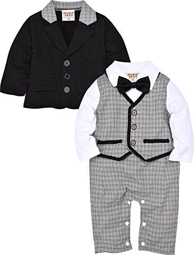 ZOEREA 2pcs Baby Boys Gentlemen Romper + Coat Wedding Suits Tuxedo Baptism...
