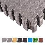 BodenMax CRS-PL301GRST-18 Tapete colchoneta Protector de Espuma para Gimnasio Yoga o habitacion de niños 30x30x1 cm 18 Piezas de Color Gris