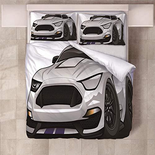 Jior Home Art Beddengoedset, 3-delig, microvezel, voor dekbedovertrek incl. 1 dekbedovertrek, 2 kussenslopen, anti-mijt auto