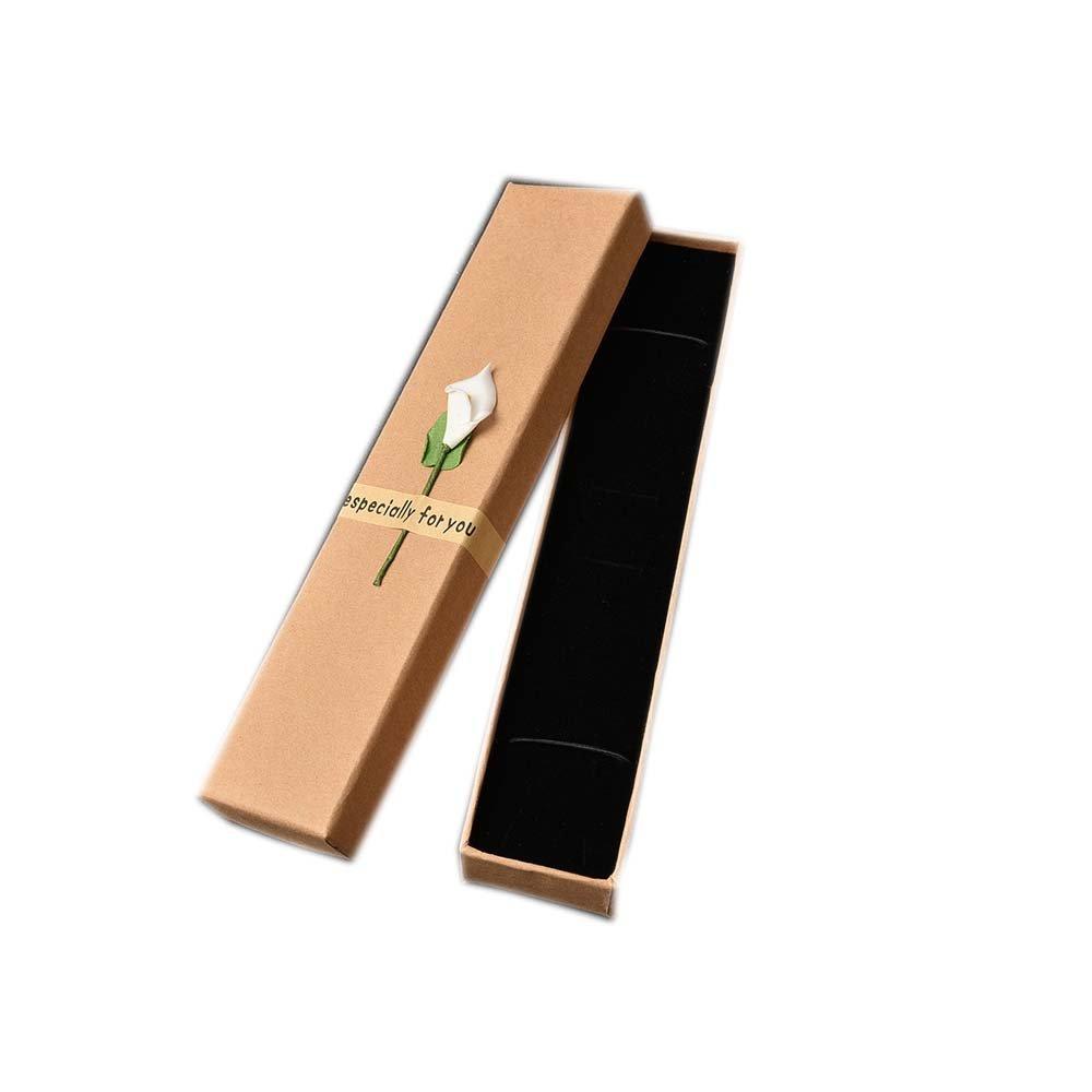 カバーネックレス付き長方形ブラウンジュエリーギフトボックスブレスレットアンクレットデラックスペン