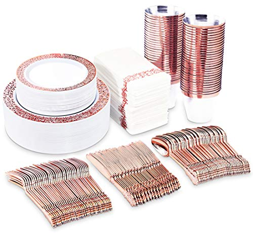 BUCLA 350PCS Rose Gold Plastic Plates With Plastic Silverware& Napkins- Rose Gold Rim Plastic Dinnerware Lace Design For Weddings And Parties