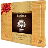 Organic Bamboo Cutting Board with Juice Groove - Kitchen Chopping Board for Meat (Butcher Block) Cheese and Vegetables | Anti Microbial Heavy Duty Serving Tray w/Handles (Small, 12 x 8')