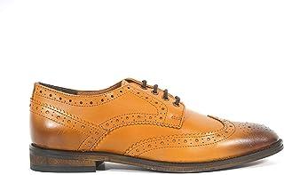 Aspele Hommes Classique Lacet Brogues Cuir Chaussures À Lacets Fauve et Noir -Cuir Semelle