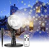 Lumière Projecteur Noël,Lampe de Projection de Chute de Neige,Projecteur Flocon de Neige Lampe Rotative avec Télécommande,Éclairage Décoratif de Neige de Paysage IP65 Etanche, 6LED, 9W, 180 Rotations