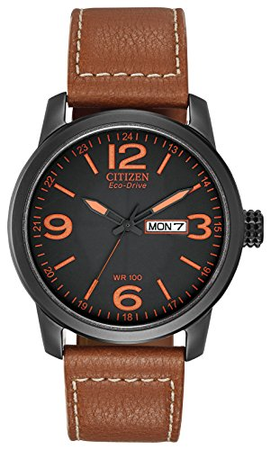 Citizen Men's Eco-Drive Watch with Black Dial Analogue Display and Brown...
