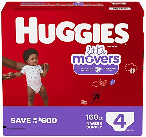 Price comparison product image Huggies Little Movers Diapers,  Ebulk,  Size 4,  198 Count (packaging may vary)