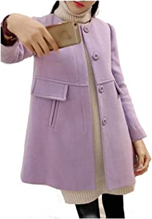 Howely Women Slim Mid-Length Single Breasted Winter Casual Pea Coat
