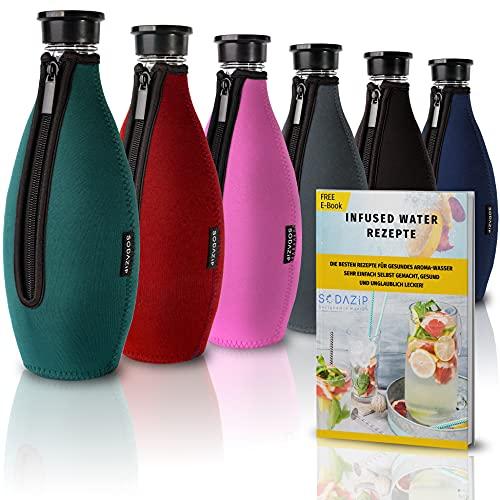 SODAZiP® Premium Schutzhülle kompatibel mit SodaStream Crystal Glaskaraffe [EXTRA KÜHLEFFEKT] - Bruchschutz Neopren Hülle für Soda Stream Glasflaschen - Zubehör für unterwegs (Grün)