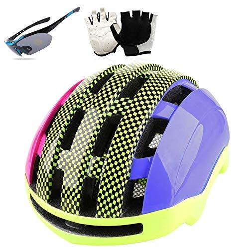 HVW Casco de Bicicleta para Hombres Mujeres, Adultos Casco de Bicicleta Goggle...
