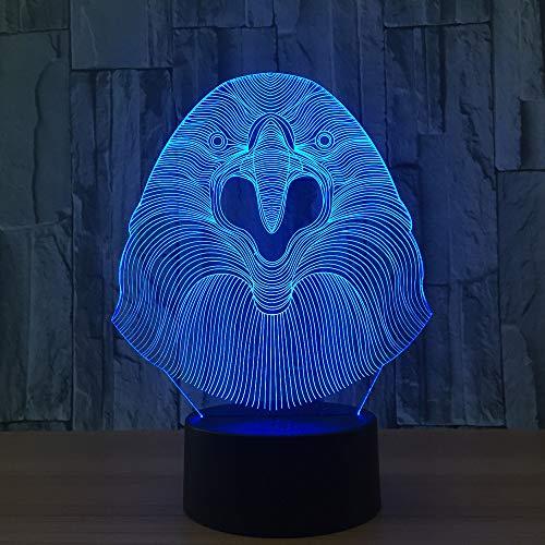 BFMBCHDJ Adler kopf 7 farbe lampe 3d visuelle led nachtlichter für kinder touch usb tisch lampara lampe baby schlafen nachtlicht niedliches licht