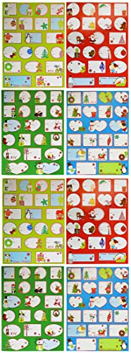 Set of 160-2'x2'-2'x4' Self-Adhesive Christmas Tag Stickers - 8.5'x11.25' Sheets of Tag Stickers - 4 Themes - 80 Unique Tags