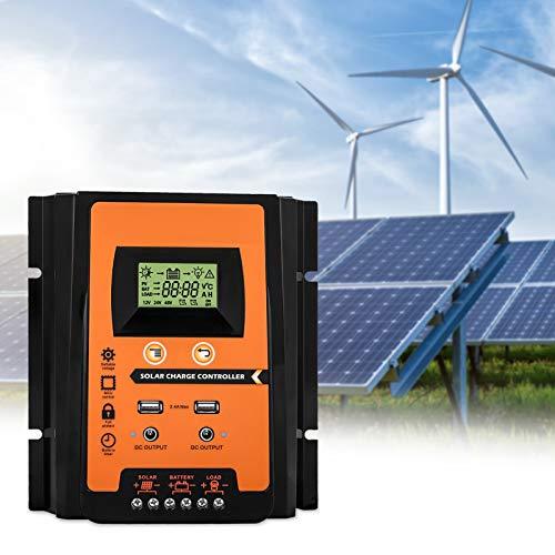 MPPT Controlador de carga solar 12v/24v 30A/50A/70A Panel solar Regulador de batería Controlador de carga Dual USB Pantalla LCD Controlador del cargador de batería de energía solar(50A)
