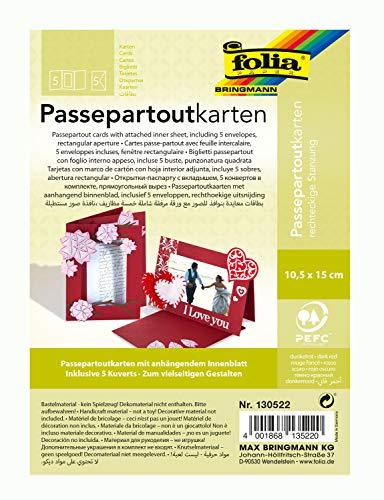 folia 130522 - Passepartouts mit rechteckiger Stanzung, ca. 10,5 x 15 cm, 5 Karten (220 g/qm) und Kuverts, dunkelrot - ideal für Einladungen, Glückwunsch- oder Grußkarten
