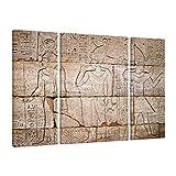 Bilderwelten Cuadro en Lienzo 3 Partes - Egypt Relief - Tríptico, Cuadros Cuadro Lienzo Cuadro sobre Lienzo Moderno Decoracion Decorativos XXL, Tamaño: 80x30 80x60 80x30cm
