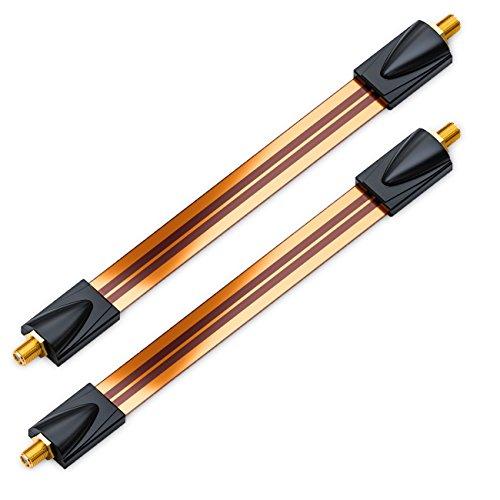 deleyCON 2X Fensterdurchführungen SAT Kabel 17cm Flexibel 26cm Länge Kupplung Fenster & Türen Vergoldet Extrem Flach Geschirmt Klebepads - Kupfer