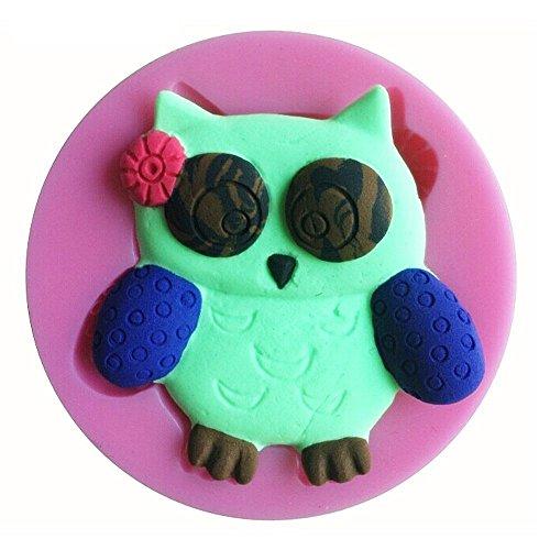 Siliconen mal voor voedsel gebruik van een uil met strik op het hoofd - suikerpasta - fondants - cakes - pannenkoeken - muffins - decoraties