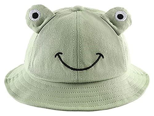 Jsmhh Sombrero de cubo bordado de rana con correa para la barbilla, ala ancha, protección solar, para el pescador al aire libre, caminar, playa, viajes (color : GN)