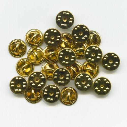 hegibaer 25 goldene Verschlüsse Butterfly Clips für Badge Pin Pins Anstecker